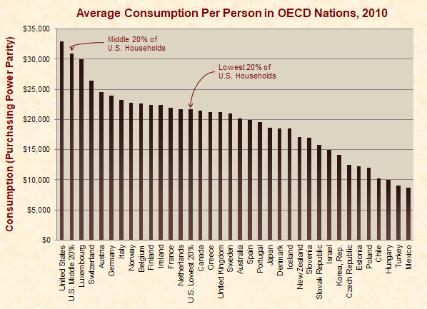 Average Consumption Per Person in OECD Nations and the Poorest U.S. Households , 2010, 2010