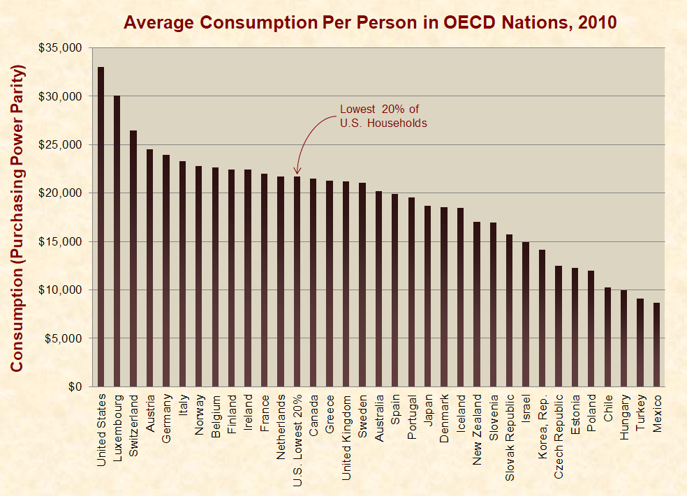 Average Consumption Per Person in OECD Nations, 2010